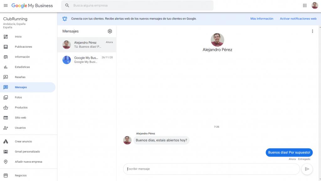 Responder desde la web los mensajes de Google My Business